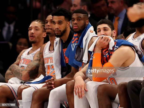 The New York Knicks bench reacts to the loss to the Golden State Warriors at Madison Square Garden on February 26, 2018 in New York City. NOTE TO...