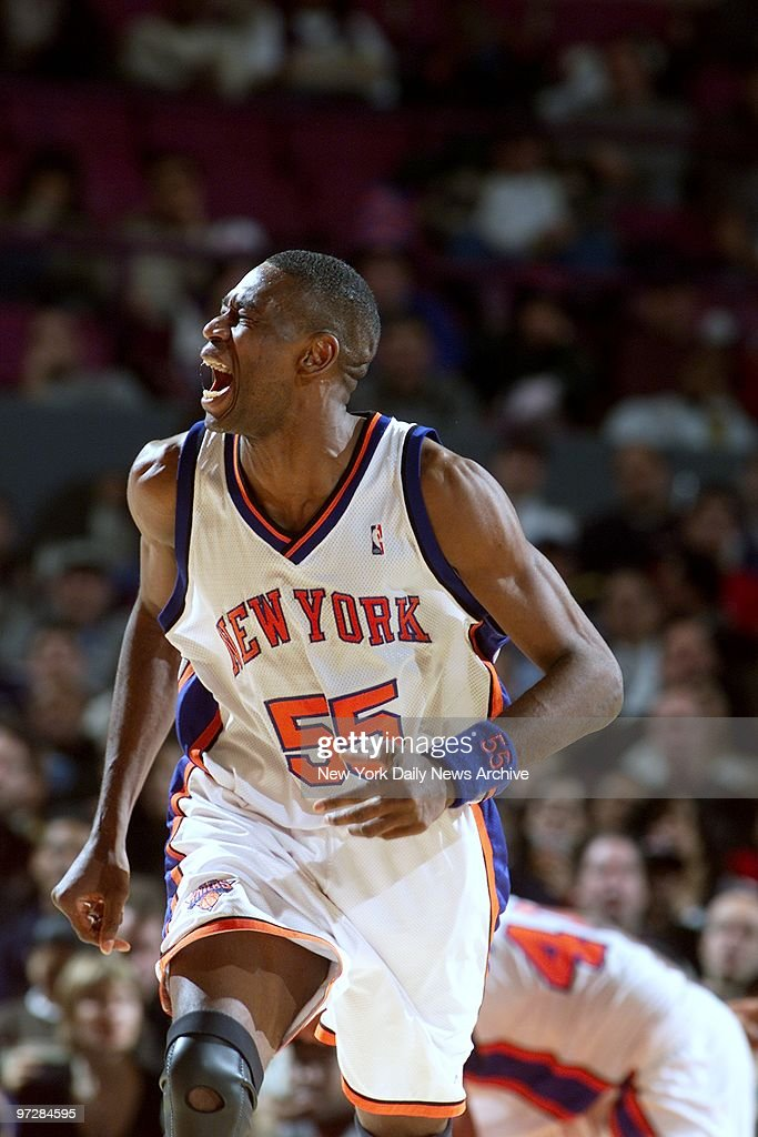 new concept 76921 60ecc The New York Knicks' Dikembe Mutombo grimaces after missing ...