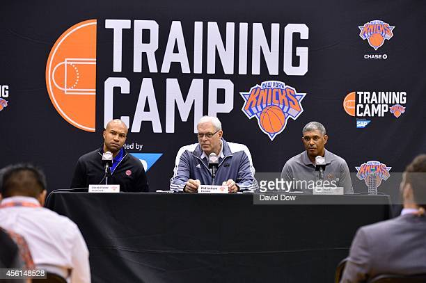The New York Knicks host a press conference with Head Coach Derek Fisher Team President Phil Jackson and Team General Manager Steve Mills on...