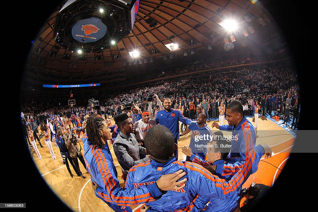 The New York Knicks huddle before the game against the Brooklyn Nets on December 19, 2012 at Madison Square Garden in New York City.
