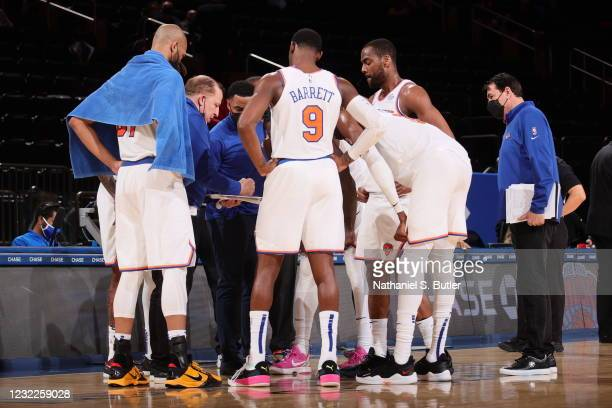 The New York Knicks huddle during the game against the Toronto Raptors on April 11, 2021 at Madison Square Garden in New York City, New York. NOTE TO...