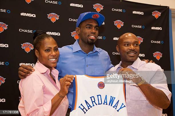 The New York Knicks introduce draft pick Tim Hardaway Jr alongside his parents Tim Hardaway Sr and Yolanda Hardaway at a press conference on June 28...