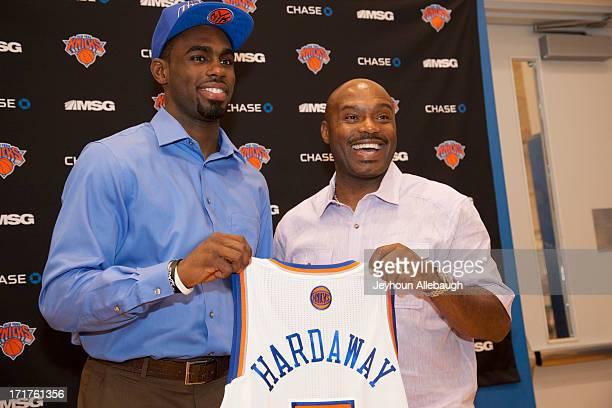 The New York Knicks introduce draft pick Tim Hardaway Jr alongside his father Tim Hardaway Sr at a press conference on June 28 2013 at the Knicks...