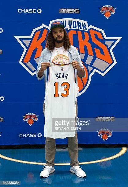 The New York Knicks' newest player Joakim Noah poses for photographs at Madison Square Garden training center on July 8 2016 in Tarrytown New York...