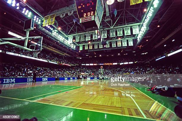 The New York Knicks play against the Boston Celtics during a game played in 1995 at the Boston Garden in Boston Massachusetts NOTE TO USER User...