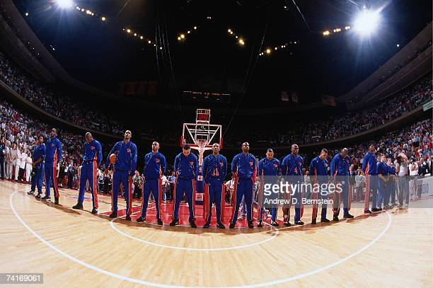 The New York Knicks stand during the national anthem prior to Game One of the NBA Finals played on June 8 1994 at the The Summit in Houston Texas...