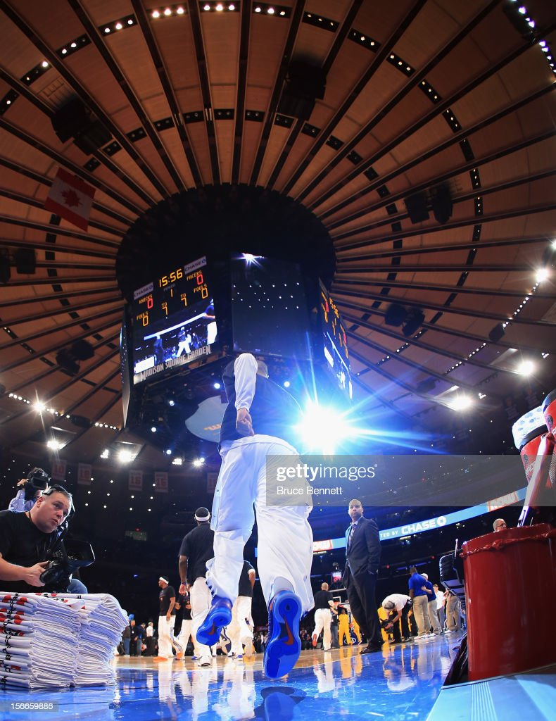 The New York Knicks takes the court to play against the Indiana Pacers at Madison Square Garden on November 18, 2012 in New York City.