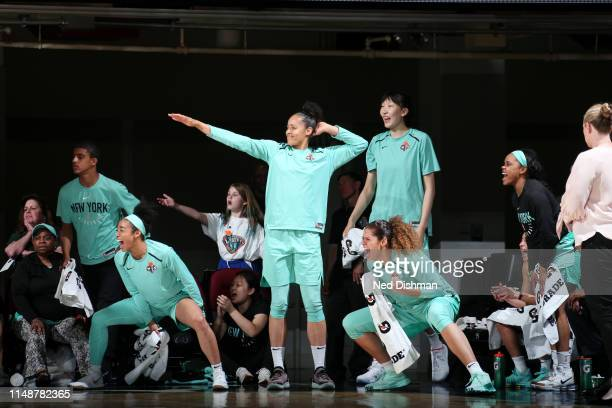 The New York Liberty bench celebrates during the game against the Las Vegas Aces on June 9, 2019 at the Westchester County Center, in White Plains,...