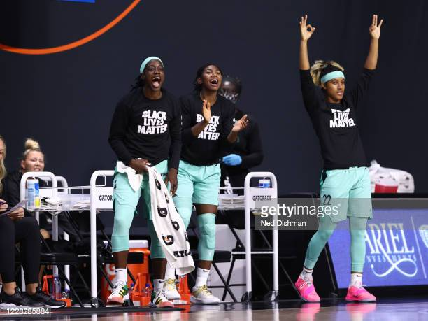 The New York Liberty bench reacts to a made three point basket during the game against the Chicago Sky on August 25, 2020 at Feld Entertainment...