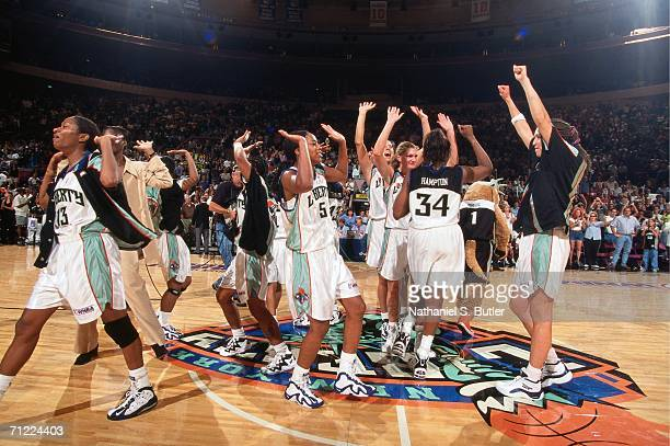 The New York Liberty celebrate a big win after a WNBA game in 2000 at Madison Square Garden in New York New York NOTE TO USER User expressly...