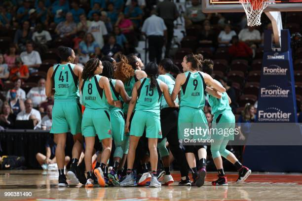 The New York Liberty celebrate after Shavonte Zellous hits the game winning shot against the Connecticut Sun on July 11 2018 at the Mohegan Sun Arena...