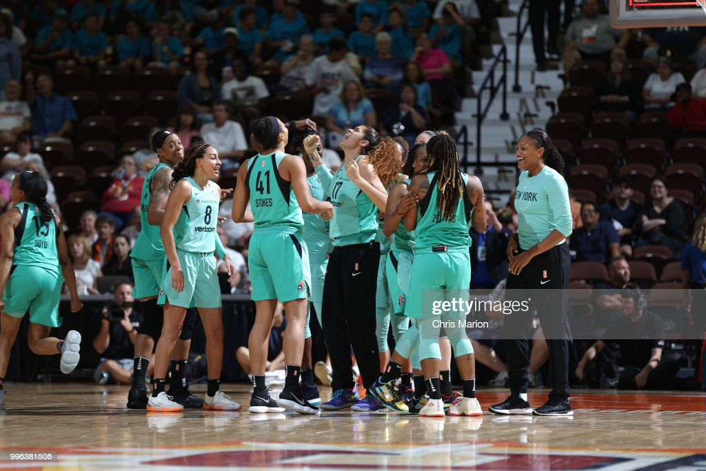 The New York Liberty celebrate after Shavonte Zellous #1 hits the game winning shot against the Connecticut Sun on July 11, 2018 at the Mohegan Sun Arena in Uncasville, Connecticut.