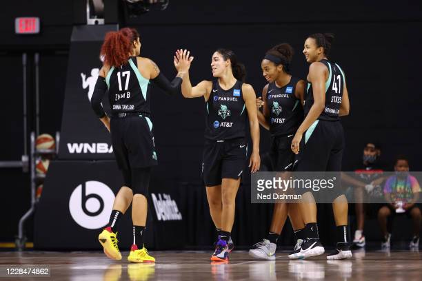 The New York Liberty celebrate against the Washington Mystics on September 12, 2020 at Feld Entertainment Center in Palmetto, Florida. NOTE TO USER:...