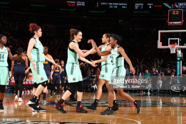 The New York Liberty celebrates a win against the Connecticut Sun on July 19 2017 at Madison Square Garden in New York New York NOTE TO USER User...