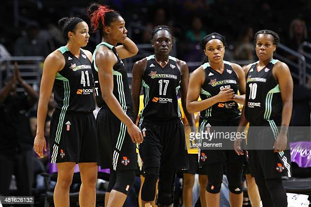The New York Liberty during a timeout against the Los Angeles Sparks in a WNBA game at Staples Center on July 22 2015 in Los Angeles California