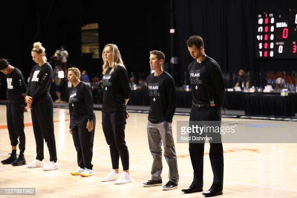 The New York Liberty honor Breonna Taylor prior to a game against the Phoenix Mercury on August 2, 2020 at Feld Entertainment Center in Palmetto,...