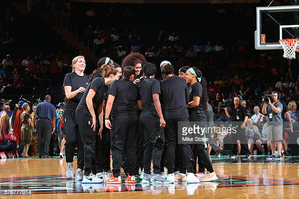 The New York Liberty huddle before the game against the Connecticut Sun on July 17 2016 at Madison Square Garden in New York City New York NOTE TO...