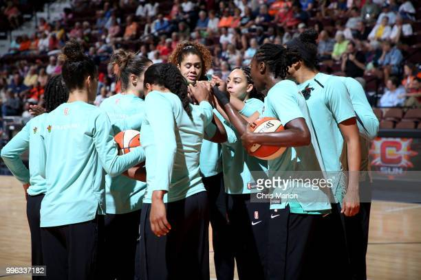 The New York Liberty huddle before the game against the Connecticut Sun on July 11 2018 at the Mohegan Sun Arena in Uncasville Connecticut NOTE TO...