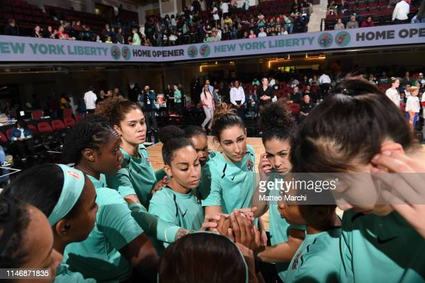 The New York Liberty huddle during the game against the Indiana Fever on May 24 2019 at the Westchester County Center in White Plains New York NOTE...