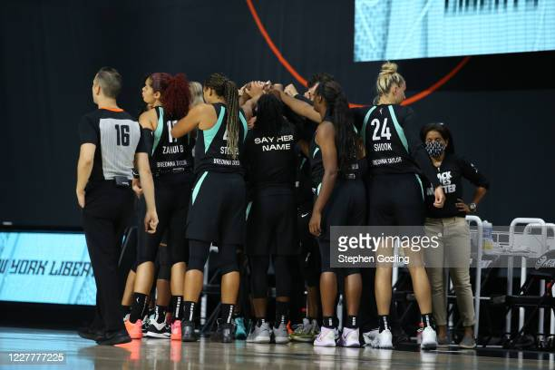 The New York Liberty huddle during the game against the Seattle Storm on July 25, 2020 at Feld Entertainment Center in Palmetto, Florida. NOTE TO...