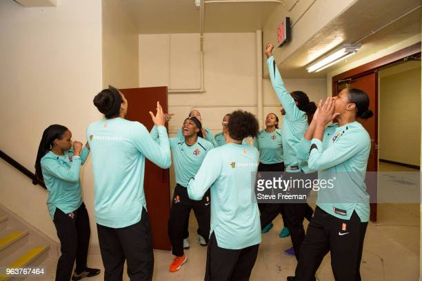 the New York Liberty huddle prior to the game against the Dallas Wings on May 29 2018 at Westchester County Center in White Plains New York NOTE TO...