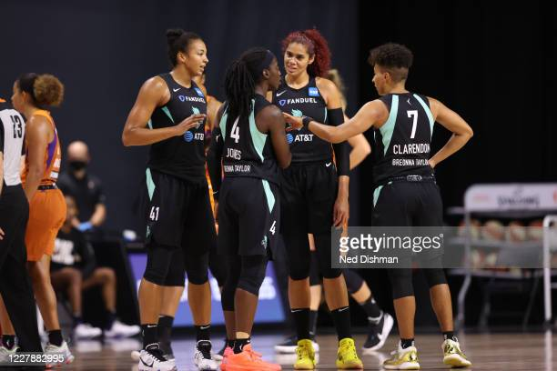 The New York Liberty huddle up during the game against the Phoenix Mercury on August 2, 2020 at Feld Entertainment Center in Palmetto, Florida. NOTE...