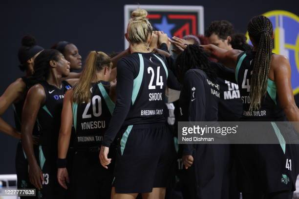The New York Liberty huddle up during the game against the Seattle Storm on July 25, 2020 at Feld Entertainment Center in Palmetto, Florida. NOTE TO...