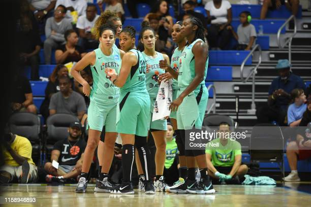 The New York Liberty huddles during the game against the Dallas Wings on August 1 2019 at the College Park Arena in Arlington Texas NOTE TO USER User...