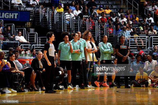 The New York Liberty looks on during the game against the Los Angeles Sparks on August 14 2018 at Staples Center in Los Angeles California NOTE TO...