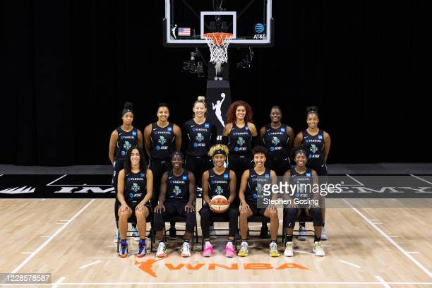 The New York Liberty pose for a team portrait on September 13, 2020 at Feld Entertainment Center in Palmetto, Florida. Back Row : Leaonna Odom,Kiah...