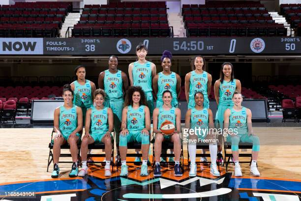 The New York Liberty poses for a team photo on August 30, 2019 at the Westchester County Center, in White Plains, New York. NOTE TO USER: User...