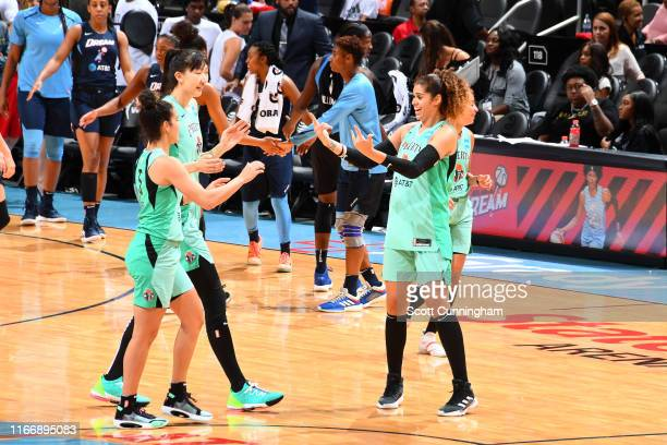 The New York Liberty react/ against the Atlanta Dream on September 8, 2019 at the State Farm Arena in Atlanta, Georgia. NOTE TO USER: User expressly...