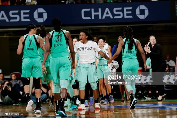 the New York Liberty react during the game against the Atlanta Dream on June 19 2018 at Westchester County Center in White Plains New York NOTE TO...