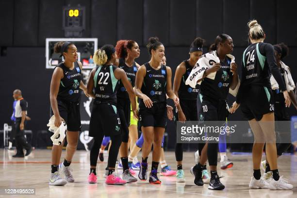 The New York Liberty seen on court during the game against the Dallas Wings on September 13, 2020 at Feld Entertainment Center in Palmetto, Florida....