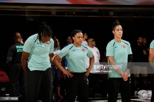 The New York Liberty stand for the National Anthem before the game against the Connecticut Sun on August 4, 2019 at the Westchester County Center, in...