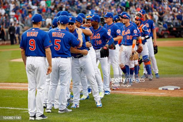 The New York Mets celebrate after defeating the Miami Marlins at Citi Field on September 30 2018 in the Flushing neighborhood of the Queens borough...