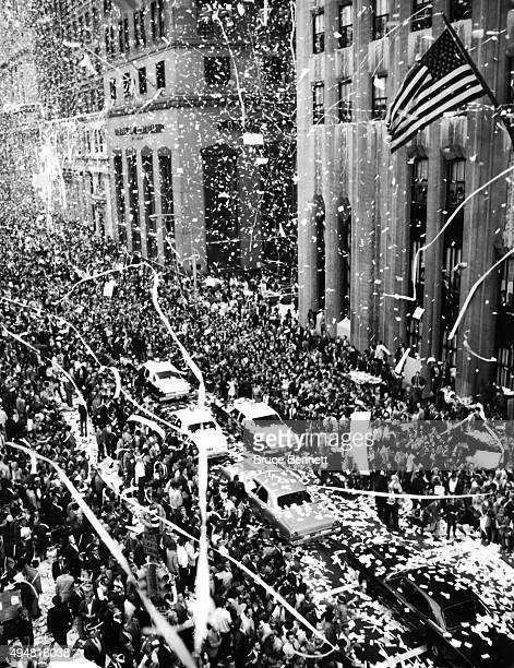 The New York Mets drive down the parade route after winning the 1969 World Series with thousands of fans ticker tape and confetti on October 20 1969...