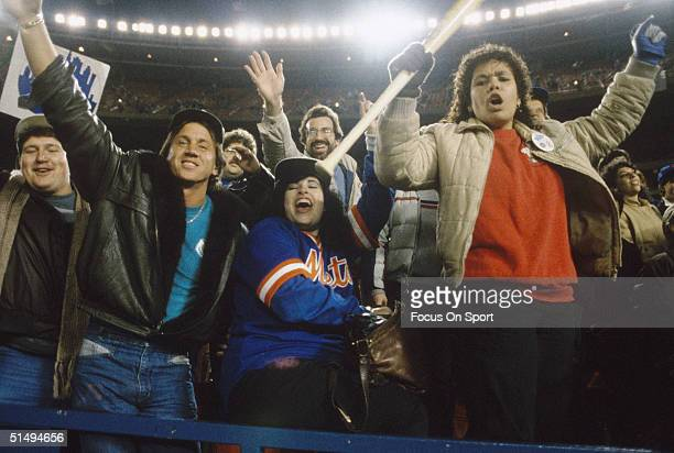 The New York Mets fans join in on the celebration of the New York Mets defeating the Boston Red Sox in Game Seven of the World Series at Shea Stadium...
