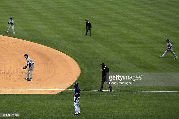 The New York Mets infield plays a defensive shift against Carlos Gonzalez of the Colorado Rockies at Coors Field on April 16, 2013 in Denver,...