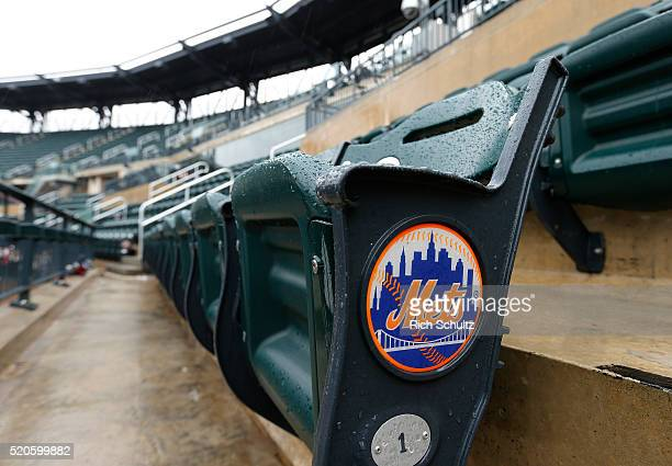 The New York Mets logo adorns a seat before a game against the Philadelphia Phillies at Citi Field on April 9 2016 in the Flushing neighborhood of...