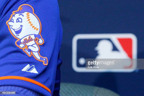 The New York Mets logo is seen on the sleeve of Matt Harvey as he addresses the media the day before Game 1 of the 2015 World Series between the...