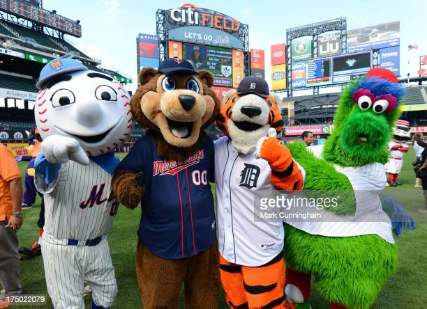 The New York Mets mascot Mr Met Minnesota Twins mascot TC Bear Detroit Tigers mascot Paws and Philadelphia Phillies mascot Phillie Phanatic pose for...