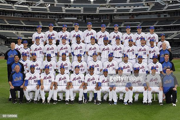 The New York Mets pose for their 2009 team photo on September 9 2009 at Citi Field in New York New York Front Row Charlie Samuels Sandy Alomar Jr...