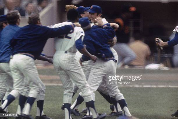 The New York Mets start the celebration after winning Game Five of the World Series against the Baltimore Orioles at Shea Stadium on October 16 1969...