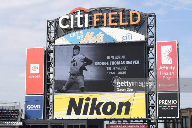 The New York Mets take a moment of silence in memory of former pitcher Tom Seaver before the first inning against the New York Yankees at Citi Field...