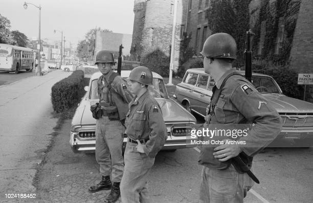 The New York National Guard are deployed during the 1964 Rochester race riot in Rochester New York State 25th26th July 1964 This is the first use of...