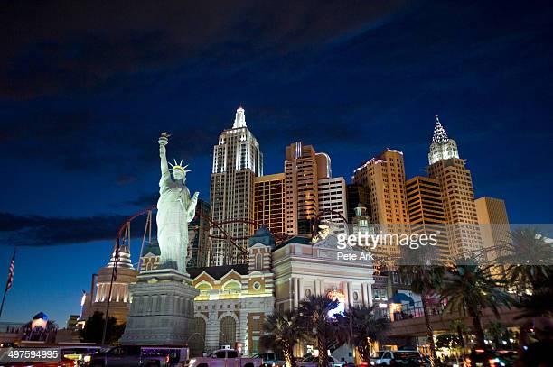 The New York New York hotel on the Las Vegas Strip at night.