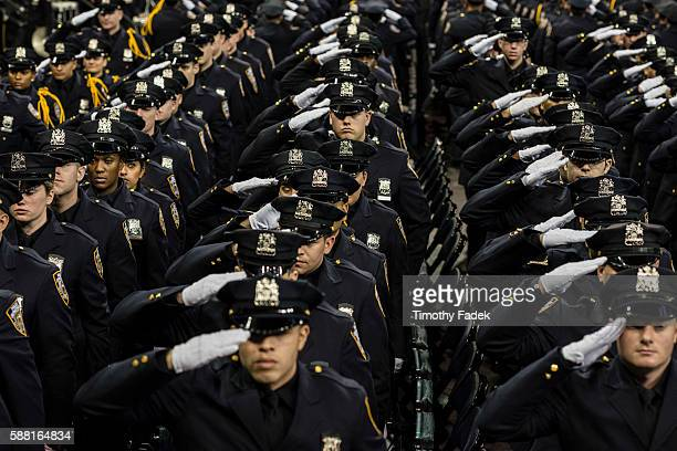 The New York Police Department graduation ceremony for 1171 new recruits held at Madison Square Garden This graduating class of police recruits is...