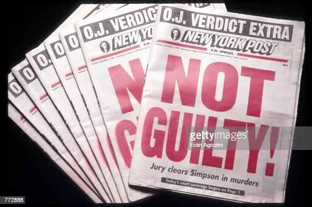 The New York Post displays a Not Guilty headline October 3 1995 in New York City Orenthal James Simpson was on trial for the murder of his exwife...