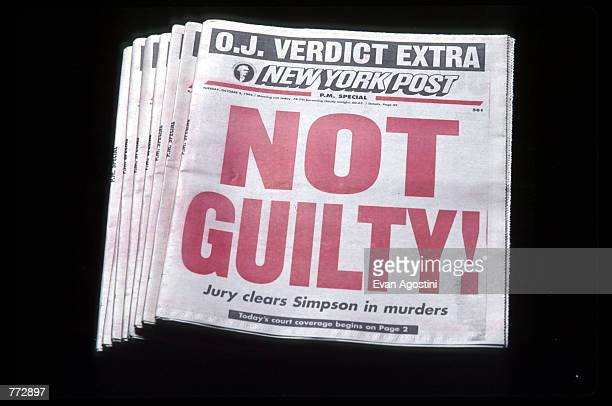 """The New York Post displays a """"Not Guilty!"""" headline October 3, 1995 in New York City. Orenthal James Simpson was on trial for the murder of his..."""